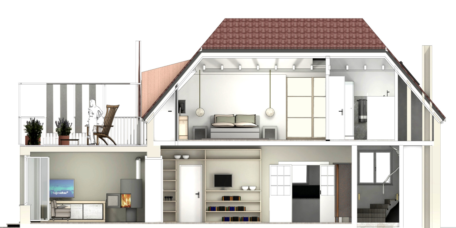 Felix-Dahn-Straße, Querschnittszeichnung des Hauses